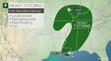 Mississippi to Missouri face locally severe storms into Saturday evening