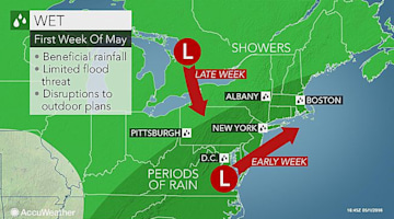 Rounds of rain to frequent northeastern US first week of May