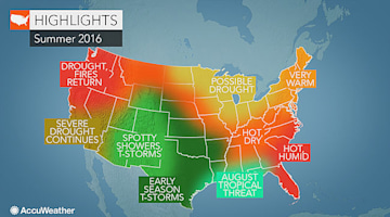 2016 US summer forecast: More 90-degree days than normal to scorch East; West to battle drought, fires