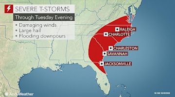 Severe storms to target southeastern US into Wednesday