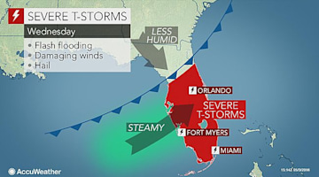 Severe storms to target central, southern Florida Wednesday