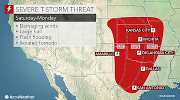 Multiple-day severe weather threat to begin Saturday over central US