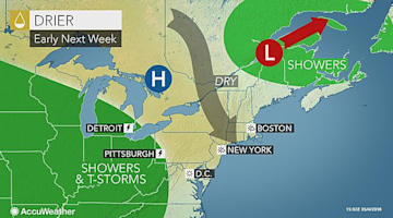 When will the rainy weather end in the northeastern US?