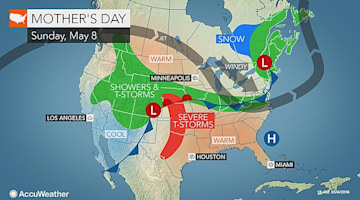 Mother's Day forecast: Severe storms may threaten family gatherings in central US