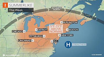 Eastern US weather to feel like summertime into Memorial Day