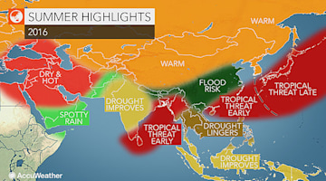 2016 Asia summer forecast: Drought to ease in India; La Nina to suppress typhoons in West Pacific