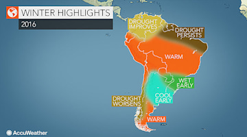 2016 South America winter forecast: Mainly dry weather to unfold for Rio Olympics; La Nina may ease drought in Venezuela