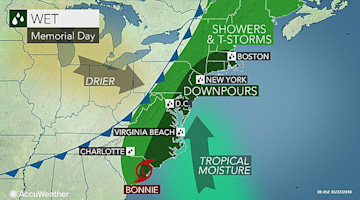 Tropical moisture to dampen Memorial Day celebrations from DC to NYC, Boston