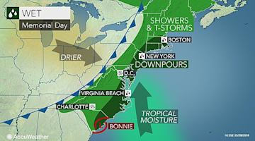 Bonnie's moisture to soak Memorial Day celebrations from DC to NYC, Boston