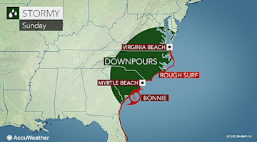 Bonnie weakens; Downpours to still target eastern US into Memorial Day
