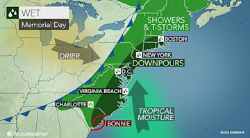 Bonnie's moisture to soak Memorial Day weekend plans from DC to NYC, Boston