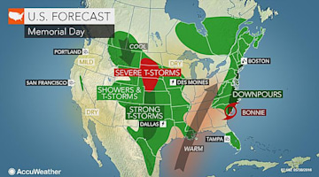 Memorial Day forecast: Bonnie's rainfall may ruin outdoor plans along Northeast coast