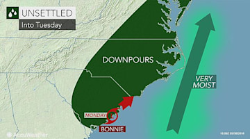 Downpours to linger across Carolinas as Bonnie meanders along the coast