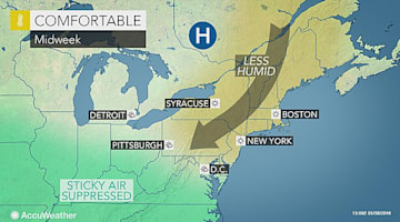 Bout of cooler air to interrupt summerlike warmth across northeastern US