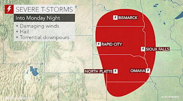 Severe storms eye US northern Plains into Memorial Day evening