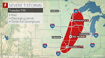 Strong storms to take aim at Chicago, Minneapolis and St. Louis into midweek