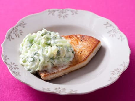 Sauteed Mahimahi with Cucumber Mint Yogurt Sauce