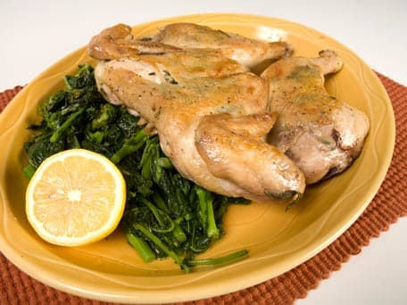 Chicken under a Brick with Rapini