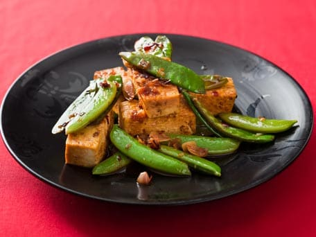 Snow Pea and Tofu Saute with Buttery Soy-Vinegar Glaze