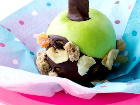 Dark Chocolate and Granola-Coated Crisp Green Apple Sticks