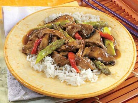 Beef, Asparagus & Portobello Stir-Fry