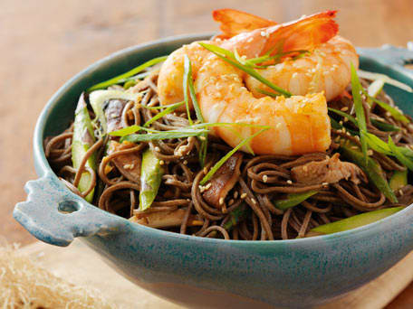 Olive Oil-Poached Shrimp with Soba Noodles