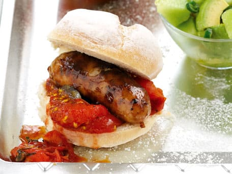 Sausages with Tomato Relish and Melon Salsa