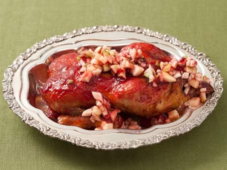 Cranberry-Orange Glazed Duck with Apple-Pear Compote