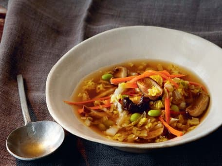Ginger Shiitake Soup with Cabbage and Edamame Beans