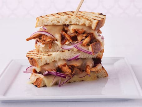 Pulled Barbecued Chicken Panini with Swiss and Red Onion