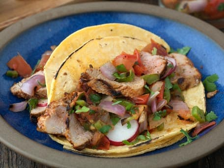 Chipotle Pork Tacos with Grilled Tomato Salsa and Lime