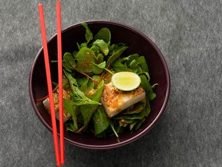 Seared Tofu with Baby Asian Green Salad