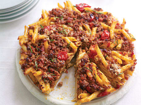 Pastiera di maccheroni (Pasta Bake with Pancetta, Rosemary, and Ground Pork)