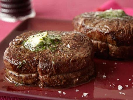 Filet Mignon with Caraway Cilantro Compound Butter
