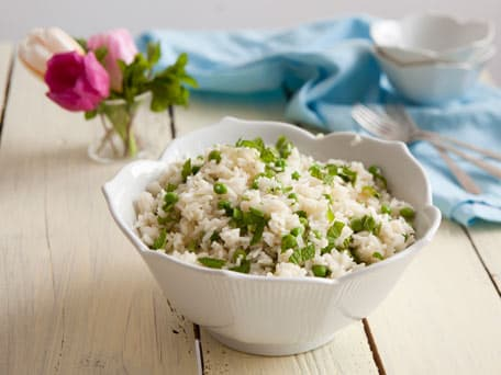 Warm Rice Salad with Peas and Mint