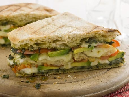 Triple-Decker Tomato and Avocado Panini with Mozzarella and Pesto