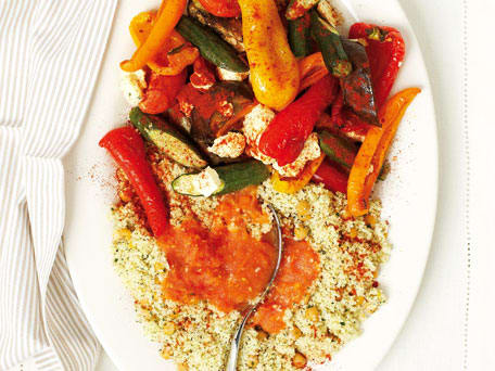 Roasted Vegetables with Feta and Herbed Couscous
