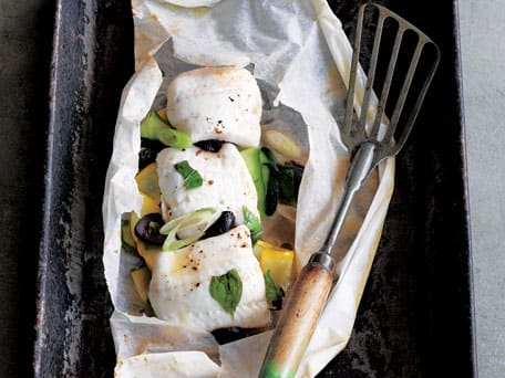 Sole in a Bag with Zucchini & Black Olives