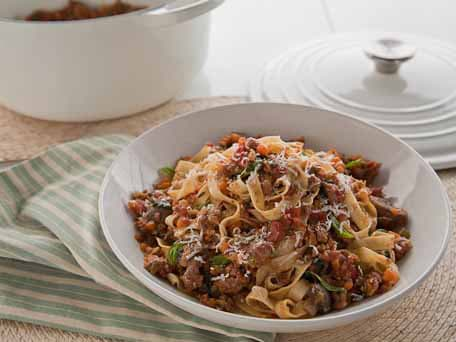 Turkey  Bolognese with Fettucine and Mushrooms