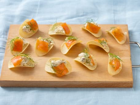 Smoked Salmon Tartare And Potato Chip Canapes Recipes — Dishmaps