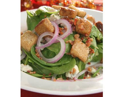 Spinach Salad with Blue Cheese, Warm Bacon Vinaigrette &  Whole Grain Croutons