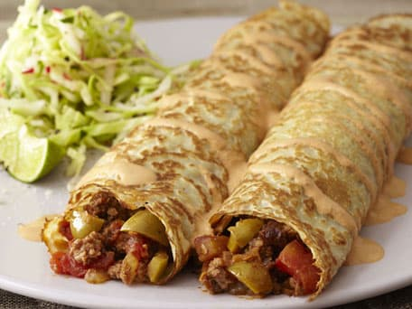 Spicy Beef Picadillo Crêpes with Chipotle Crema
