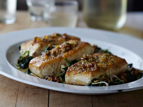 Halibut and Spinach with Orange-Pine Nut Vinaigrette