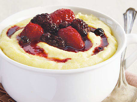 Breakfast Polenta with Warm Berry Compote