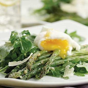 Image of Asparagus Salad Topped With Poached Eggs, Kitchen Daily