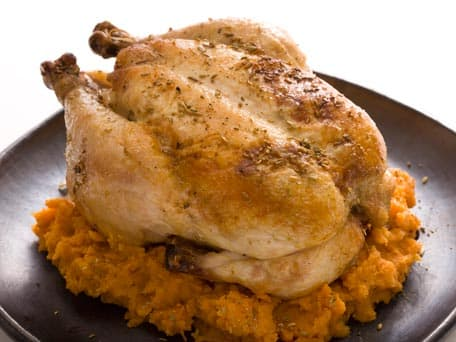 Fennel Crusted Roast Chicken with Smashed Sweet Potatoes