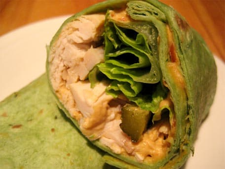 Chicken and Roasted Red Pepper Hummus Wraps