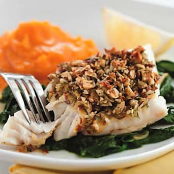 Image of Almond-&-lemon-crusted Fish With Spinach, Kitchen Daily
