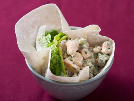 Chicken Salad with Caesar Dressing in Romaine Lettuce Leaves