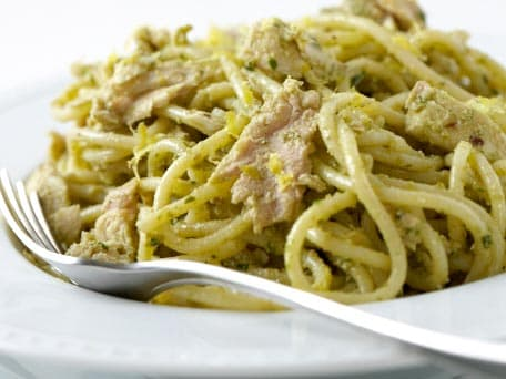 Spaghetti with Tuna and Green Olive Pesto